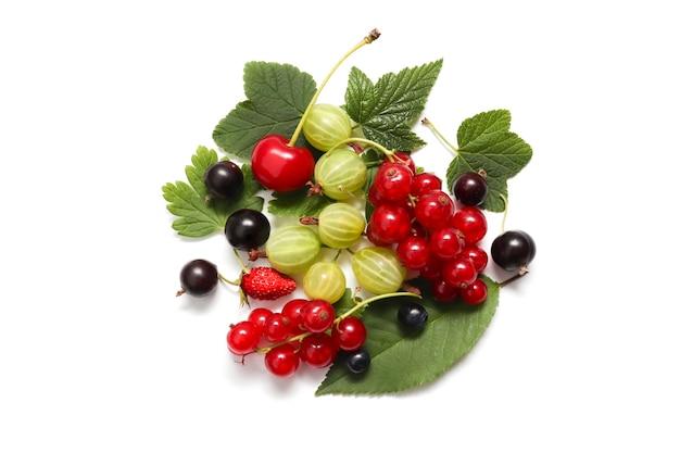 Świeże jagody czerwonej porzeczki, czarnej porzeczki, wiśni, agrestu z liśćmi. na białym tle. pojęcie letniego jedzenia, świeżych owoców i jagód. widok z góry, układ płaski.