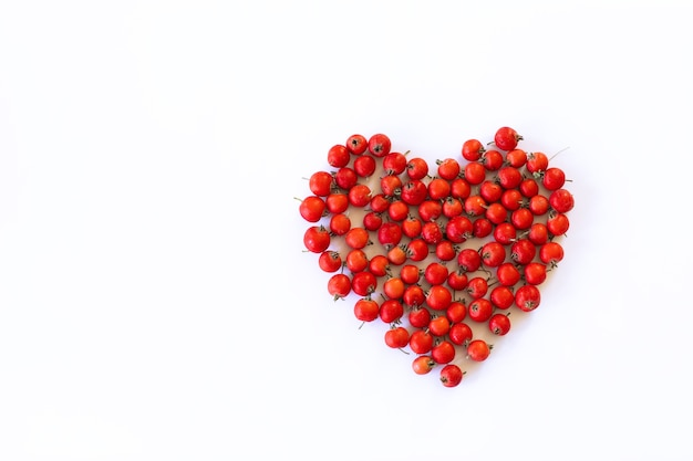 Świeże jagody głogu w kształcie serca