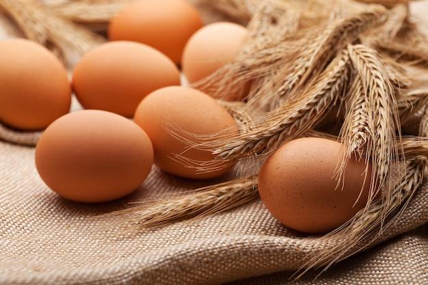 Świeże jaja gospodarskie na worze z kłosami pszenicy