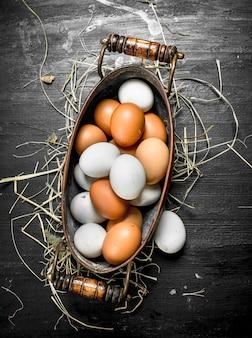 Świeże jajka w misce. na czarnej tablicy.