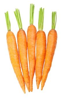 Świeże marchewki na białym tle