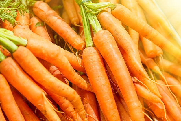 Świeże marchewki przy środkowym rynkiem w budapest, węgry