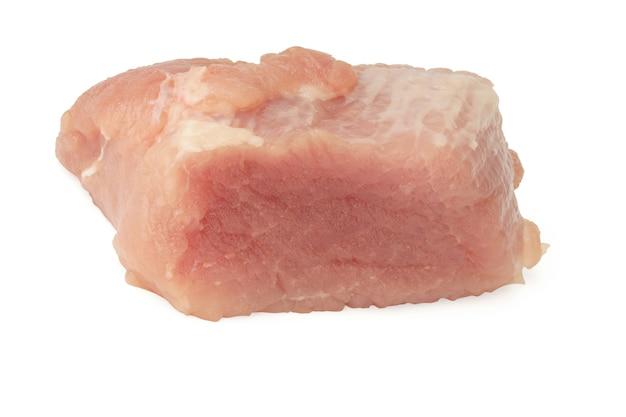 Świeże mięso na białym tle. kawałek wieprzowiny