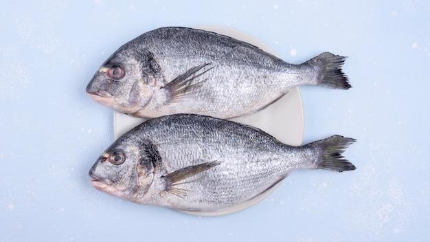 Świeże, niegotowane ryby z owoców morza