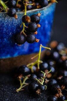 Świeże organiczne jagody czarnej porzeczki w ceramicznej misce w ciemności z miejsca na kopię
