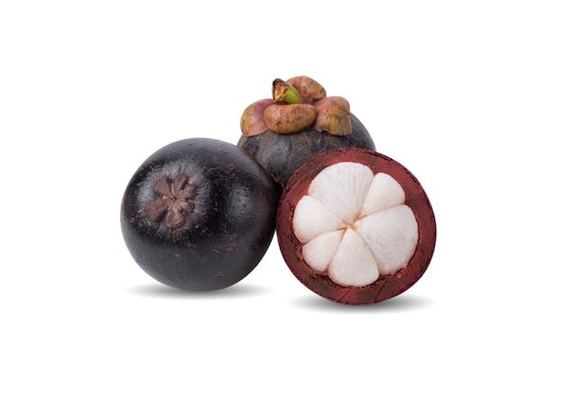 Świeże Owoce Mangostanu Na Białym Tle Premium Zdjęcia