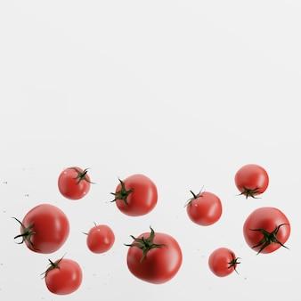 Świeże pomidory na białym tle. renderowania 3d