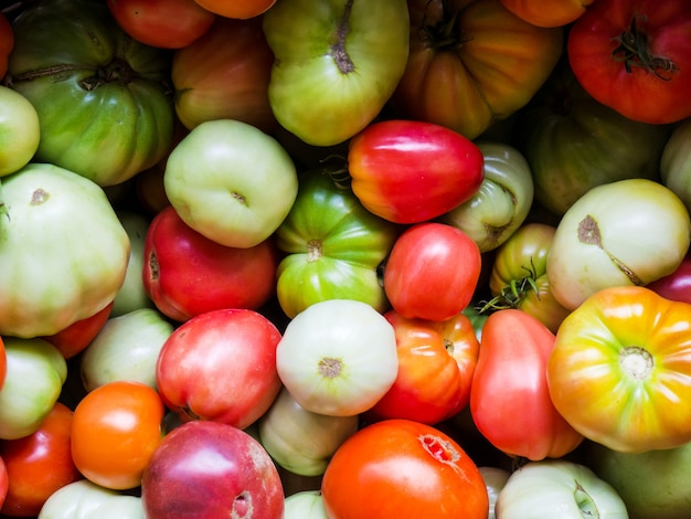 Świeże pomidory w różnych kolorach w koszu