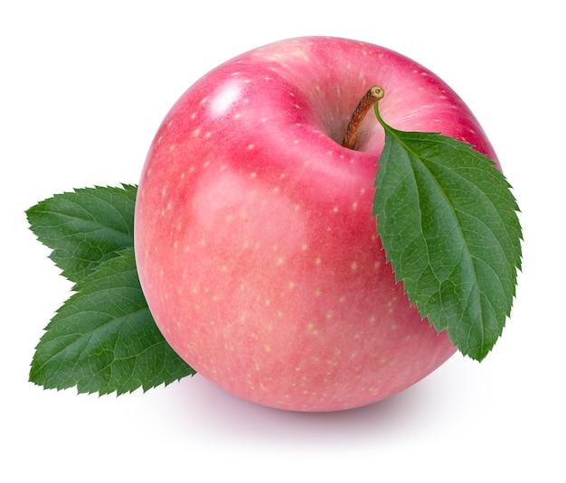 Świeże różowe jabłko z liściem na białym tle, fuji apple na białym tle. ze ścieżką przycinającą.