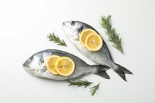 Świeże ryby dorado, cytryna i rozmaryn na białym tle