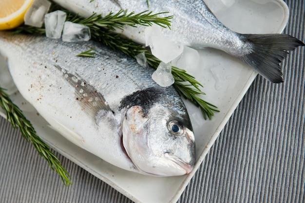 Świeże, surowe ryby dorado w lodzie z cytryną, rozmarynem, solą i pieprzem