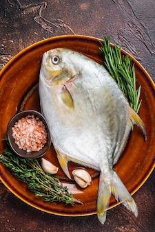 Świeże surowe ryby florida pompano na rustykalnym talerzu