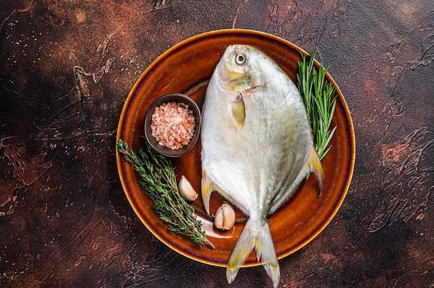 Świeże surowe ryby z florydy pompano na rustykalnym talerzu. ciemne tło. widok z góry.