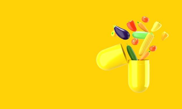 Świeże warzywa wylatują z pigułki, renderowanie 3d
