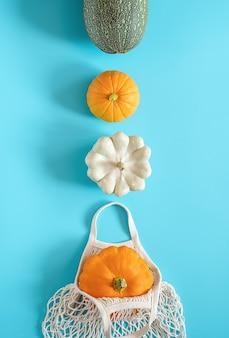Świeże zbiory warzyw tykwy dynia, cukinia, squash i ekologiczna torba z siatki wielokrotnego użytku na zakupy na niebieskim tle. concept organiczne warzywa i bez plastiku, zero odpadów. widok z góry układ płaski.