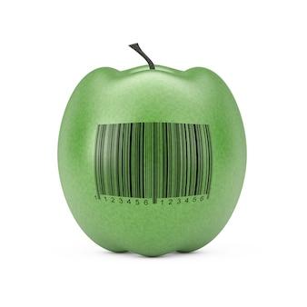 Świeże zielone jabłko z kodem kreskowym na białym tle. renderowanie 3d