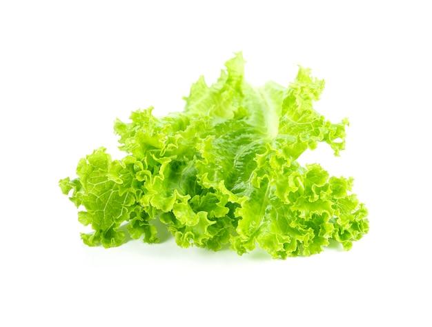 Świeże zielone liście sałaty na białym tle