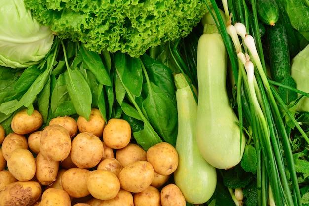 Świeże zielone warzywa i zioła
