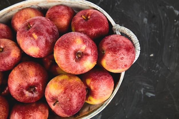 Świezi organicznie czerwoni jabłka w koszu na czerni. jesienne zbiory. leżał płasko. widok z góry. skopiuj miejsce