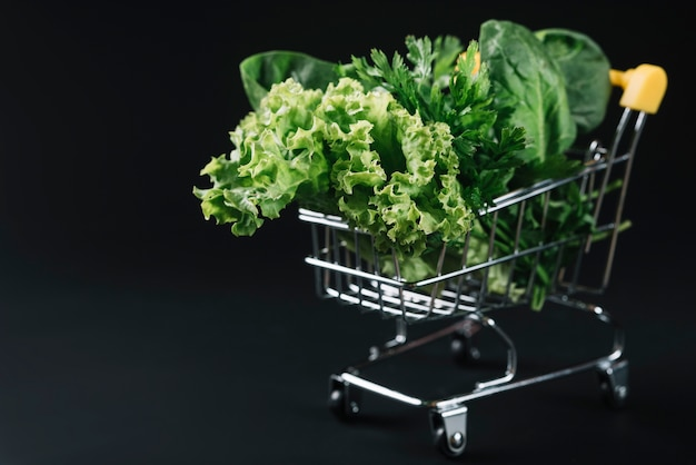 Świezi zieleni obfitolistni warzywa w wózek na zakupy nad czarnym tłem