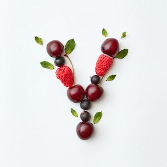 Świeżo zebrane owoce natufal wzór alfabetu angielskiego litery y z naturalnych dojrzałych jagód - czarny