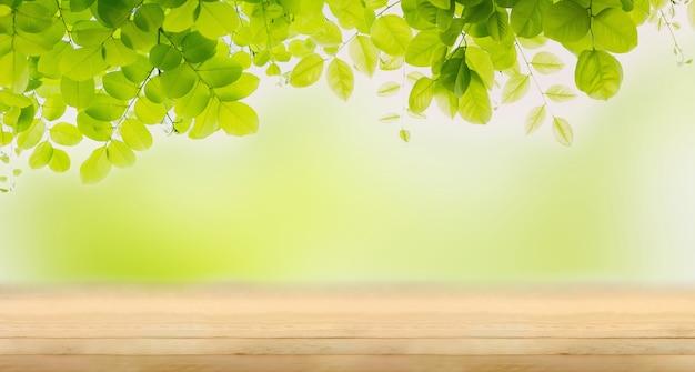 Świeżość zielonych liści na pustym drewnianym stole