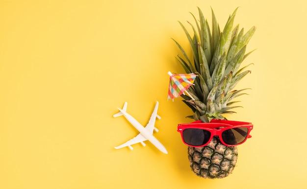 Świeży ananas w okularach przeciwsłonecznych z modelem samolotu i rozgwiazdą