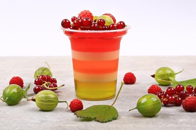 Świeży deser z galaretką jagodową przydatna lekka pannacotta
