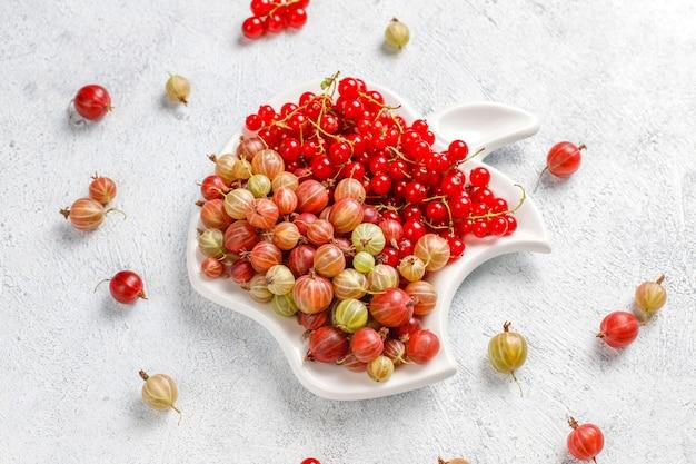Świeży organiczny słodki agrest i czerwona porzeczka w miskach
