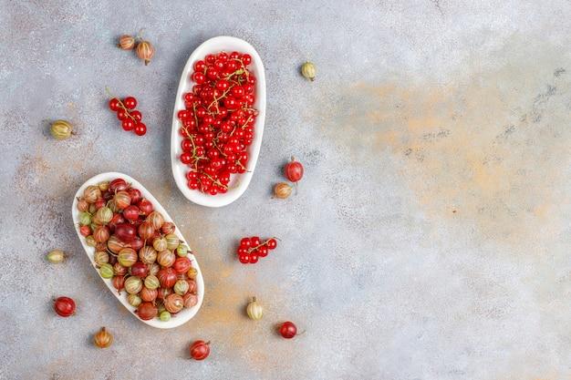 Świeży organiczny słodki agrest i czerwone porzeczki w miskach