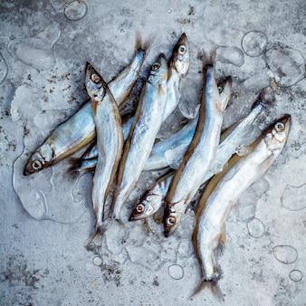 Świeży połów shishamo ryb w pełni jaja na stoisku świeżych owoców morza.
