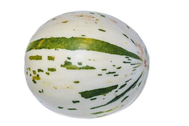 Świeży soczysty biały melon dino na białym tle