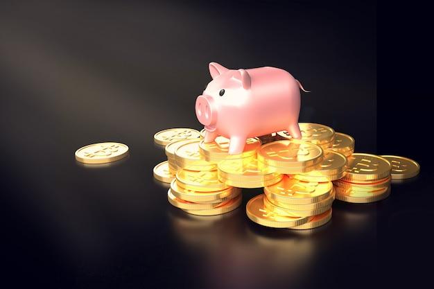Świnka piggy na stosie monet bitcoin