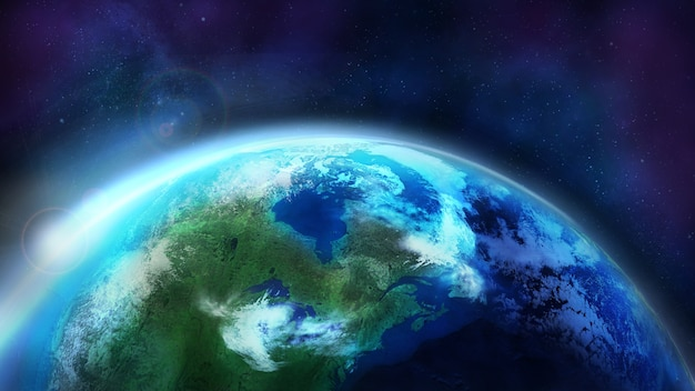 Świt nad planetą ziemia dzień pół globu