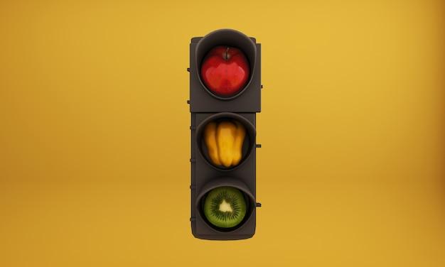 Sygnalizacja świetlna, jabłko zastąpione czerwonym światłem, papryka zastąpiona żółtym światłem, kiwi zastąpione zielonym światłem
