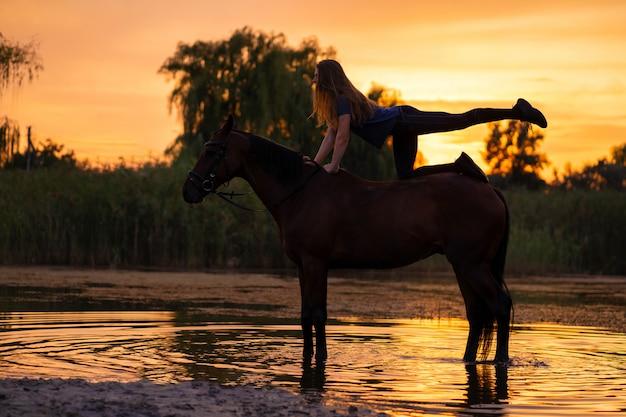 Sylwetką była szczupła dziewczyna ćwicząca jogę na koniu, o zachodzie słońca koń stoi w jeziorze. opiekuj się i chodź z koniem. siła i piękno