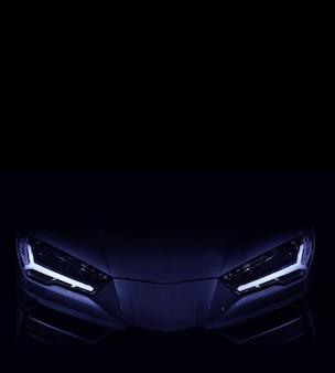 Sylwetka czarny samochód sportowy z reflektorami led na czarnym tle