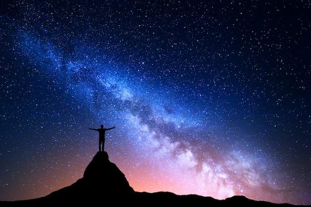 Sylwetka człowieka stojącego na szczycie góry