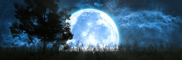 Sylwetka drzewa na tle księżyca odbite w oceanie, ilustracja 3d