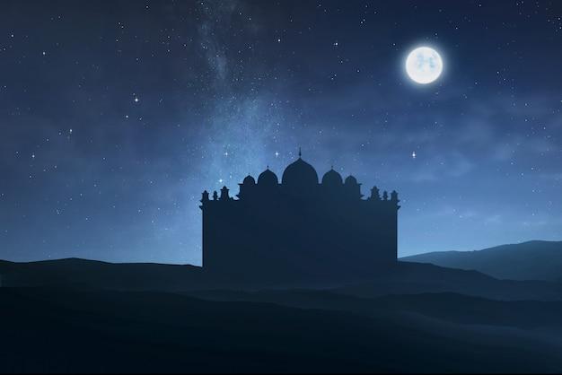 Sylwetka duży meczet z księżycowym światłem