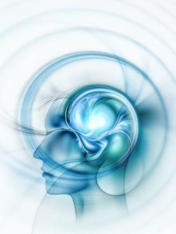 Sylwetka głowy z fraktalną koncepcja mózgu obraz kreatywne myślenie koncepcja pomysły projektowe koncepcja...
