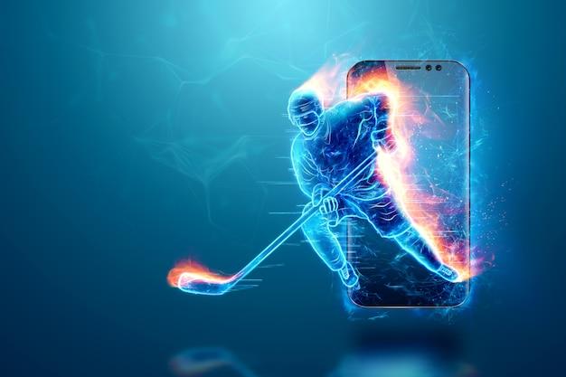 Sylwetka hokeisty wybucha ze smartfona