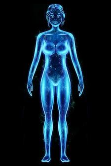 Sylwetka, hologram kobiecego ciała w kolorze niebieskim na białym tle