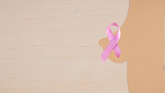 Sylwetka kobiecej piersi ze wstążką informującą o raku piersi