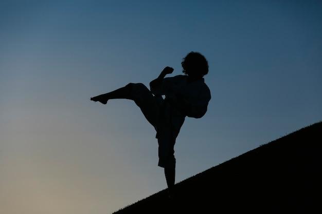 Sylwetka kobiety karate, kopiąca, ubrana w kimono. koncepcja karate i sztuk walki. na tle parku.