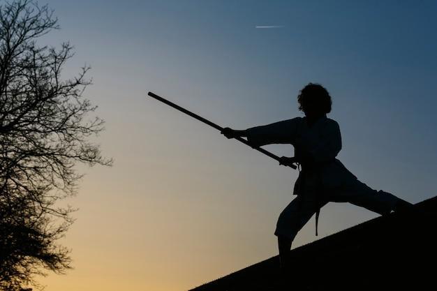Sylwetka kobiety karate w kimonie, w postawie bojowej, z bo, długim kijem