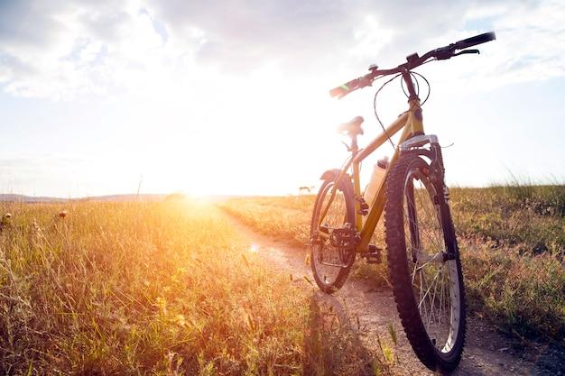 Sylwetka kolarstwo górskie o zachodzie słońca