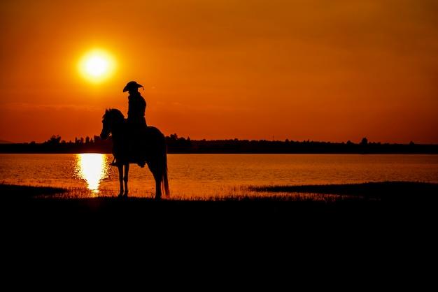 Sylwetka kowboj na koniu