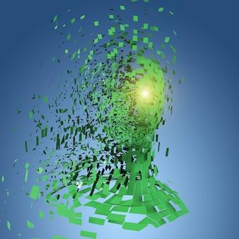 Sylwetka ludzkiej głowy z dużą ilością zielonych kawałków