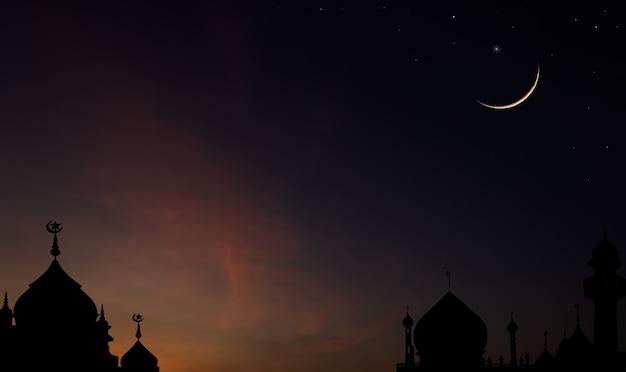Sylwetka meczetu kopuła na zmierzchu nieba wieczorem i sierp księżyca dla symbolu religii islamskiej